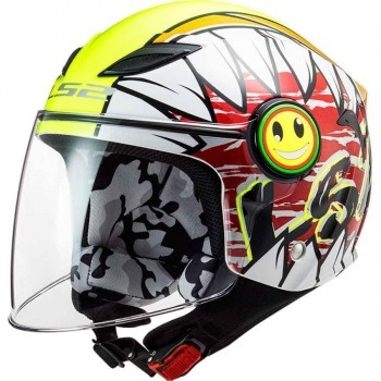 CASCO LS2 OF602 FUNNY CRUNCH WHITE H-V YELLOW